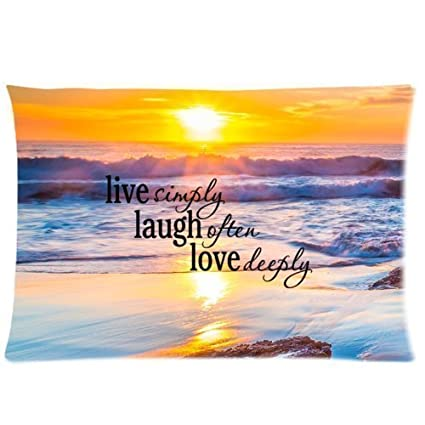 Rectangle Sunset Sea Ocean Beach With Live Laugh Love Quotes Throw