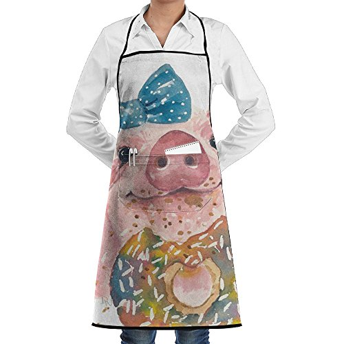 Rainbowhug Donuts Pig Animals Unisex Aprons Cute Kitchen Apron Customized Cooking Aprons With Pockets by Rainbowhug