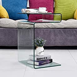 Living Room Clear End Coffee Table for Living Room, Small Side Tables for Bedroom, Sofa Nightstand Bent Modern Home Office Furniture… modern coffee tables