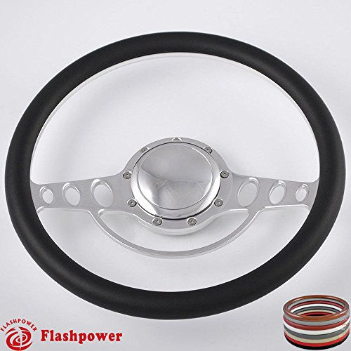 Flashpower 14'' Billet Half Wrap Steering Wheel with 9 Bolts 2'' Dish and Horn Button (Billet Steering Wheel Horn Buttons)