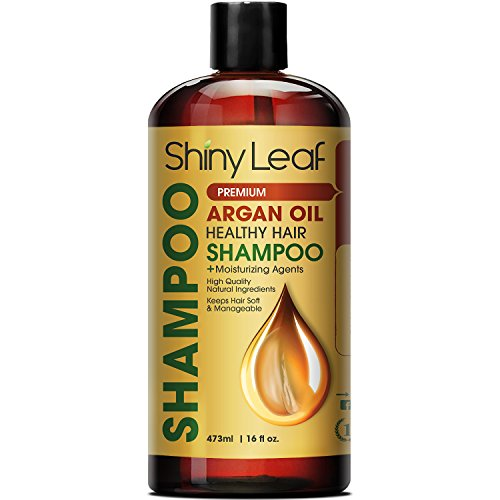 Shiny Leaf Argan Oil Shampoo – Premium Salon Quality Sulfate Free Shampoo for Hair Loss Treatment, Thickens, Strengthens All Hair Types, Leaves Hair Smooth, Huge 16 oz (473 ml) Bottle