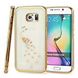 Kit Me Out CAN® Samsung Galaxy S6 [Electroplating Technology] [Ultrathin Fit] Premium Diamond Peacock Protective TPU Gel Case Cover Skin Pouch - Gold