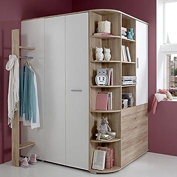 Amazon.de: Kinderzimmer Eck-Kleiderschrank begehbar + Garderobe ...