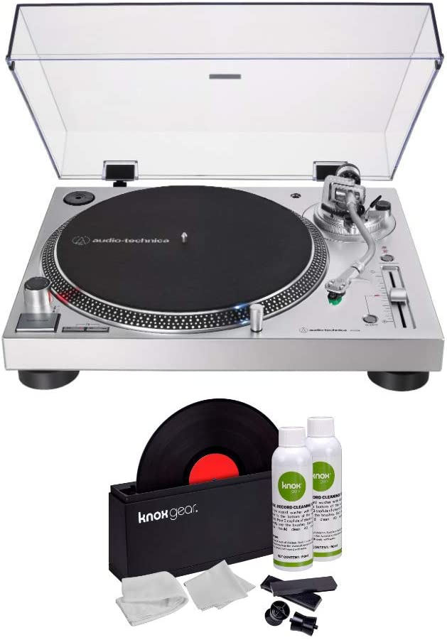 Audio-Technica AT-LP120XUSB Direct-Drive USB Turntable (Silver) with Knox Gear Vinyl Record Cleaner Kit