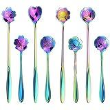 SelfTek 8Pcs Flower Spoon Set, 2 Different Size Colorful Stainless Steel Teaspoons Rainbow Coffee Stirring Spoon