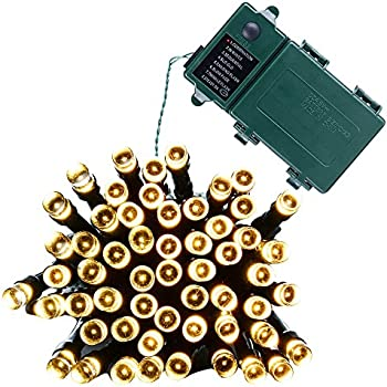 Qedertek Battery Christmas Lights, Fairy String Lights 50 LED 13.1ft Decorations Lighting with 8 Modes Auto Timer for Party, Garden, Patio, Xmas, Lawn (Warm White)
