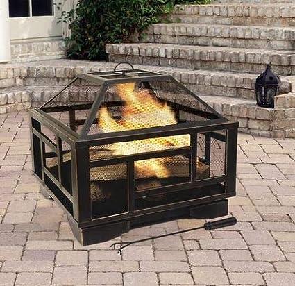 Amazon.com: Eto- Mesa de madera negra exterior de acero ...