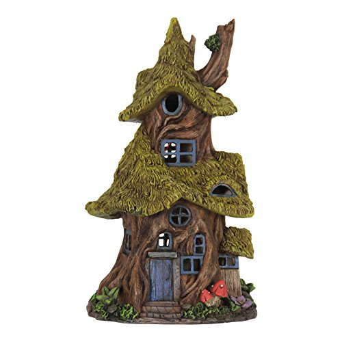 Exhart Thatched Roof Tree House Garden Statue, Fairy Cottage, Resin, Solar Powered, 7
