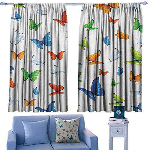 - ParadiseDecor Butterflies Nursery/Baby Care Curtains Butterflies Animal Clipart Ecology Environment Joyful Design Cartoon Tropics,Indo Treatment Panes,W55 x L45 Inch