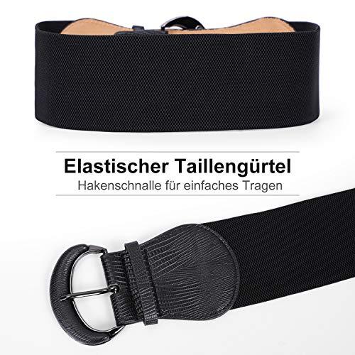 WERFORU Dehnbarer breiter Taillengürtel der Frauen für Kleid Damen elastische Gürtelhakenschnalle