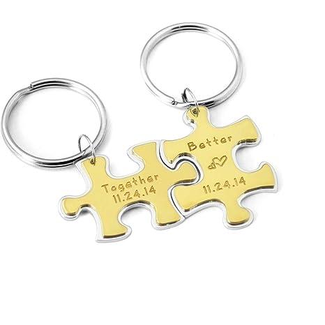 Amazon.com: Custom Puzzle Set llavero, dos piezas Puzzle ...