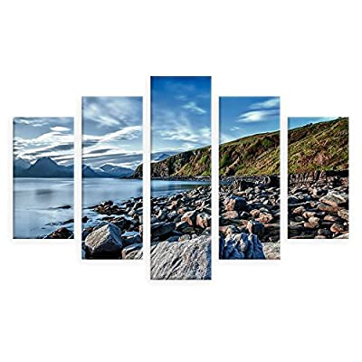 Alonline Art - A Lake On The Coast Split 5 Panels FRAMED Cotton Canvas For Home Decor READY TO HANG Wall Art Museum Quality Frame Frames