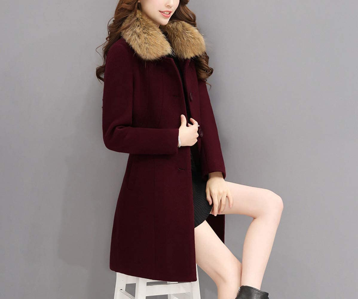 AB Manteau en Laine d'automne Et d'hiver, Veste en Coton Chaud pour Femmes, Manteau en Laine Longue Et Mince en Coton Femme, Coupe-Vent d'automne Et d'hiver pour Femmes rouge