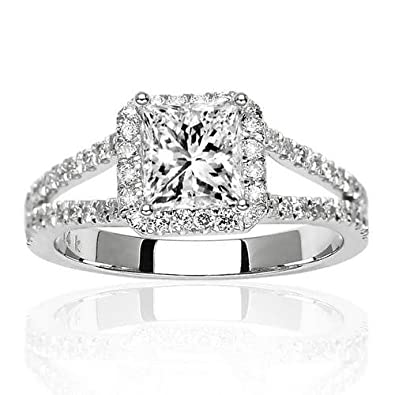 9c7651e50 IGI Certified Near 1 Carat Square Double Row Halo Split Shank Princess Cut  Diamond Engagement Ring (H-I Color, SI1-SI2 Clarity)