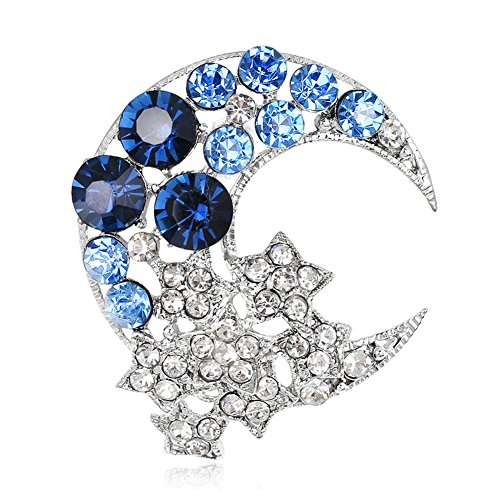 SANWOOD Women's Crescent Moon Star Bling Rhinestone Scarf Hat Brooch Broch Pin Breastpin Gift (Blue)