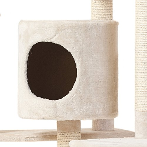 Cat Tree 28'' (L) X 38'' (W) X 80'' (H) Condo Furniture Scratching Post Pet Cat Kitten House High Quality hanging rope and toys by Thailand (Image #3)