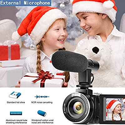 Camcorder Video Camera, Vlogging Camera Full HD 1080P 30FPS 3'' LCD Touch Screen Vlog Video Camera for YouTube Videos with External Microphone and Remote Control