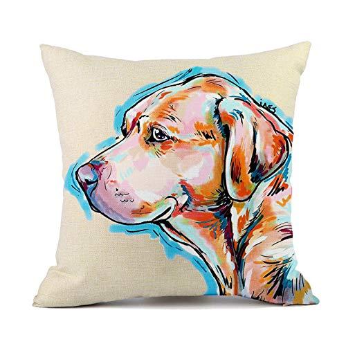 Redland Art Cute Pet Labrador Dog Throw Pillow Covers Cotton Linen Sofa Decorative Cushion Cases for Home Decor 18×18 Inch (Decorative Dogs Pillows)