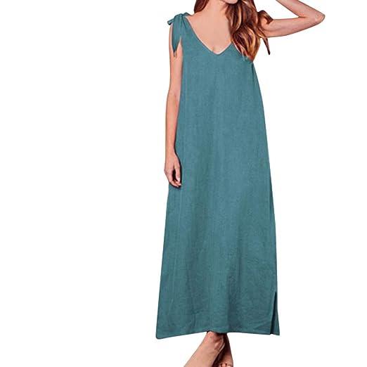 089f537483a1 kemilove Women's Halter Neck V-Neck Bow Holiday Loose Casual Party Maxi  Dress Blue