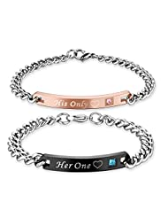 AmorFeel His Only Her One Stainless Steel His and Hers Couple Bracelet(2pcs)