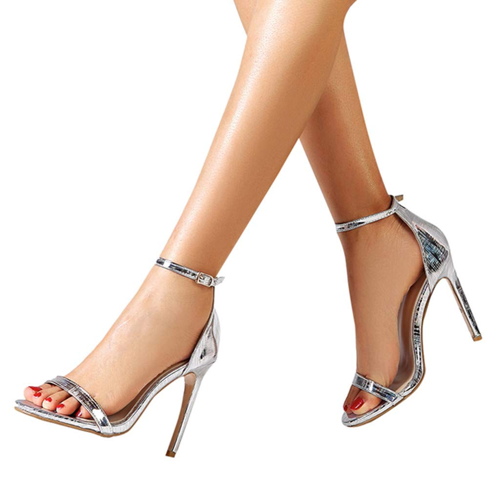 Selomore Women's Prom Shoes Strappy High Heel Formal Wedding Party Evening Sandals (Silver,US: 6) by Selomore Shoes (Image #3)