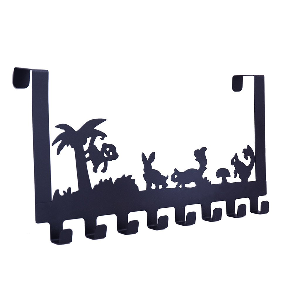 Baoyouni Over the Door 8 Hook Rack Tree & Animals Design Decorative Organizer Hanger for Clothes, Coat, Hat, Belt, Towels - Suitable for Home or Office Use 15.75'' x8.07'' x1.85'' (Black)