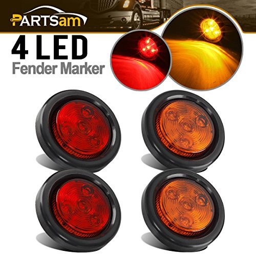 Partsam 4) 2 Round LED Red/Amber Clearance/Side Marker Light grommets mount w/Reflex, 2 Inch Round LED Trailer Clearance and Side Marker Lights Kit with Light Grommet and Wire Pigtail Truck RV