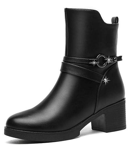 dde6fbc986ce3d YOGLY Chaussure Mode Bottine Chelsea Boots Femme Simple Classique Bottine  Femmes Bottes en Cuir Talon Chic Compensé,Noir: Amazon.fr: Chaussures et  Sacs