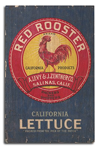 - Lantern Press Red Rooster Vegetable - Vintage Crate Label (10x15 Wood Wall Sign, Wall Decor Ready to Hang)