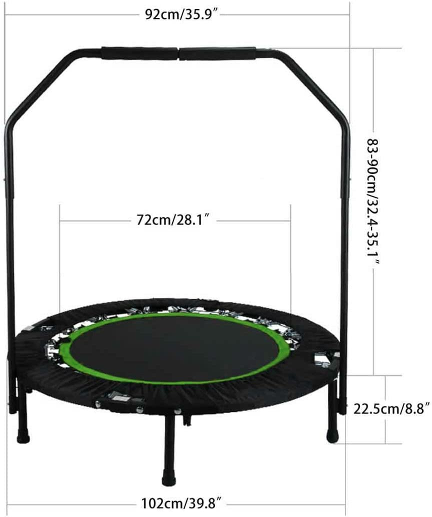 Hurbo Foldable 40 Mini Trampoline Rebounder, Max Load 300lbs Rebounder Trampoline Exercise Fitness Trampoline with Adjustable Handrail for Adults Kids