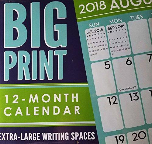 2018 Big Print Wall Calendar - Wall Large Print Calendar