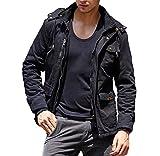 CRYSULLY Mens Fatigue Jacket Cheap Outdoor Sportswear Windbreaker Bomber Jackets and Coats Black