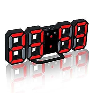 EAAGD electrónico LED despertador digital, puede ajustar automáticamente el brillo de LED (negro/rojo)