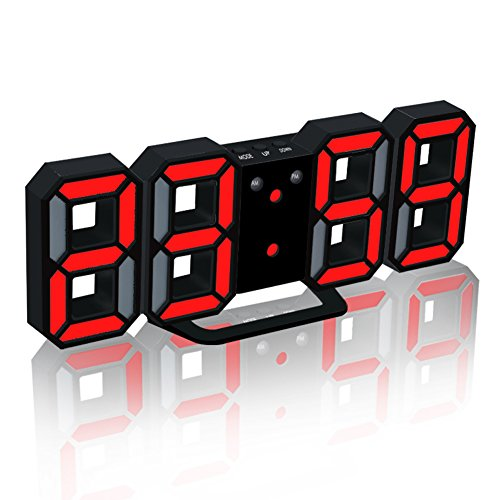 EAAGD Electronic LED Digital Alarm Clock [Upgrade Version], Clock Can Adjust The LED Brightness Automatically in Night (Black/Red)