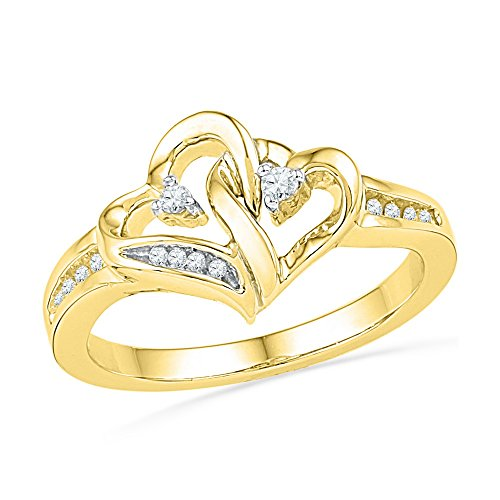 10kt Yellow Gold Womens Round Diamond Double Heart Love Ring 1/10 Cttw (I2-I3 clarity; J-K color) by Jewels By Lux