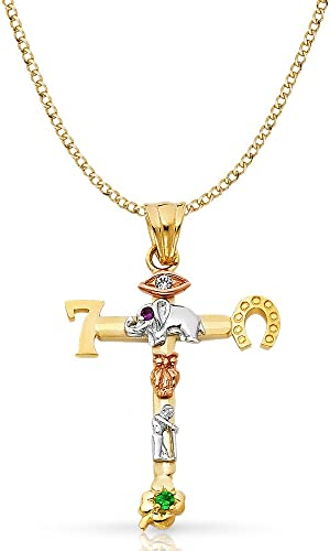 Ioka 14K Yellow Gold Religious CZ Cross Charm Pendant For Necklace or Chain