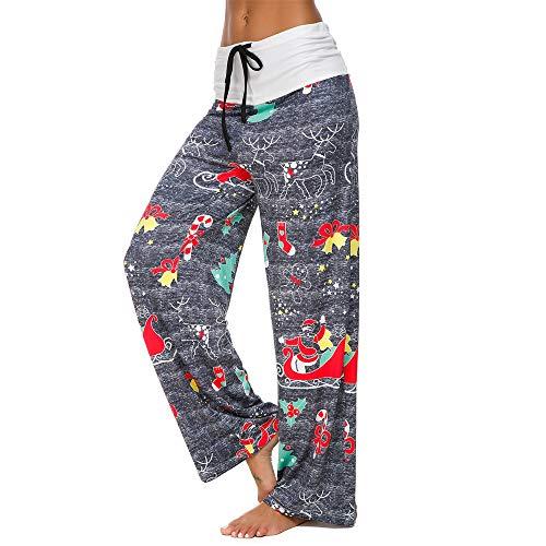 Gogoodgo Women Christmas Prints Pants, Ladies Hight Waist Loose Drawstring Pants Stretchy Wide Leg Pants Gray