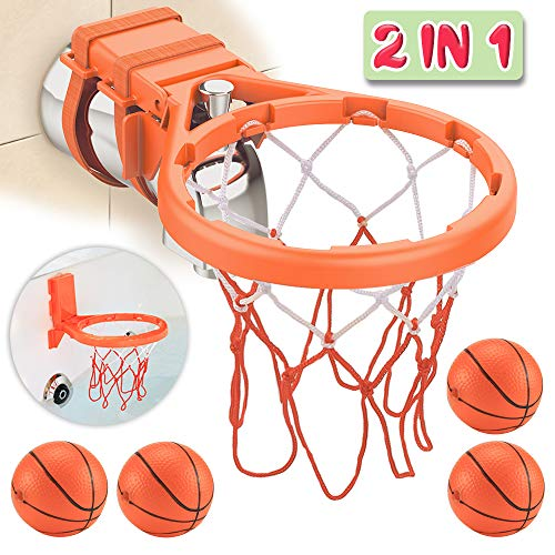 Basketball Bath - Bath Toy Basketball Hoop & Balls Playset(2 in 1 Design), with 4 balls and Mesh Bag, Bathroom Slam Dunk&Bathtub Shooting Game Gadget, for Kid Boy Girl Child Gift, With Strong Suction Cup and Magic Rop