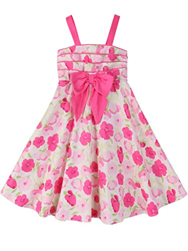 SPEINY Girls Summer Sleeveless Vintage Pink Floral Print Swing Party Dresses -