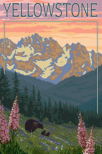- Yellowstone National Park, Wyoming - Bear and Cubs with Flowers (12x18 Art Print, Wall Decor Travel Poster)