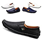 Driving Shoes Men's Penny Loafers Casual Leather Stitched Loafer Shoes(Black 42)