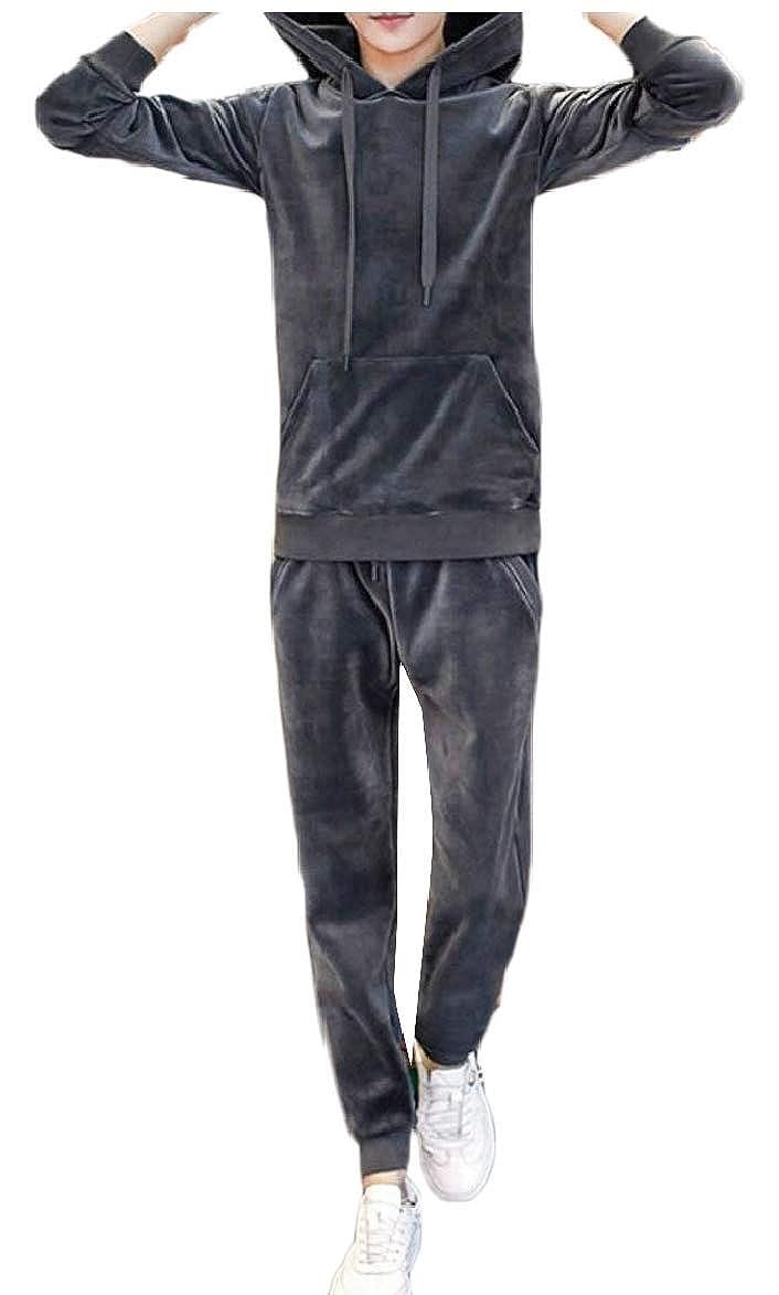 Gery XLarge omniscient Men Velour Pure color Hooded 2 Pieces Sport Sweat Suit Sets