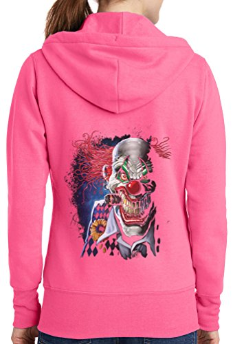 Womens Joker Clown Full Zip Hoodie, Neon Pink, 2X