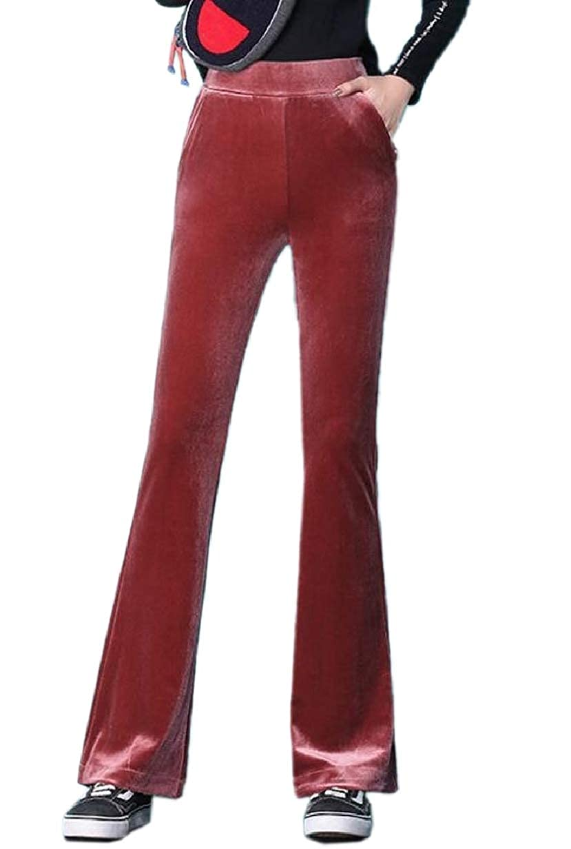 ZXFHZS Women Stretchy High-Rise Bell Bottom Fit and Flare Velvet Pants