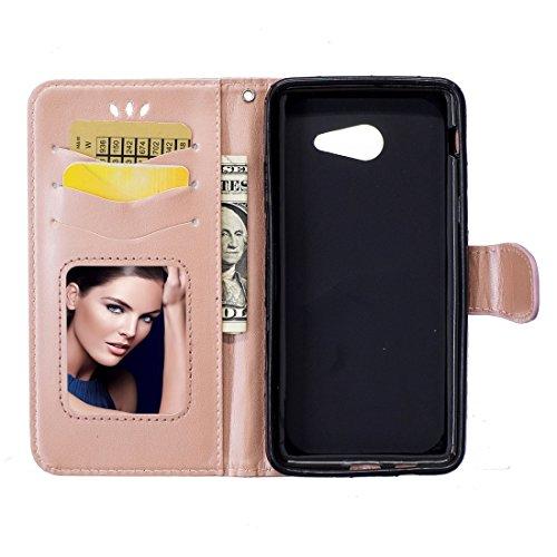 XIAOGUA Cases & Covers, Para Samsung Galaxy J5 (2017) / J530 (versión EE. UU.) Flores presionadas Mariposa Patrón de amor Horizontal Funda de cuero con cremallera con soporte y tarjetas Ranuras y bill Rose gold