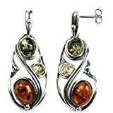 Multicolor-Amber-Sterling-Silver-Pear-shaped-Earrings