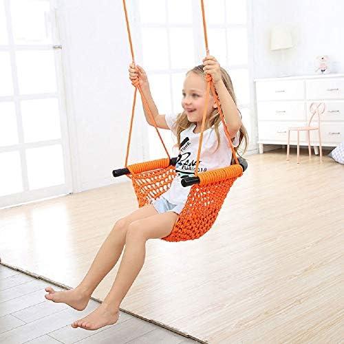 ブランコ 子供たちはポリエステル素材をインストールするにガーデン屋内屋外の簡単のために席をスイング ジャングルジム・ブランコ (色 : Orange, Size : 45.5x8.0x50.5cm)