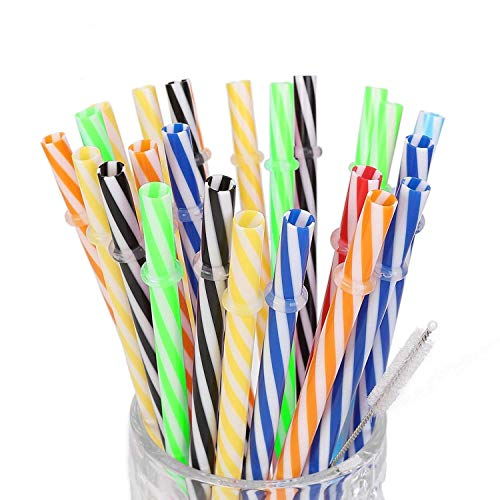 25pack 9Inch Long Reusable Plastic Straws. BPA-Free, Replacement Drinking Straws Fit for Mason Jar, Yeti Tumbler with Cleaning Brush. ()