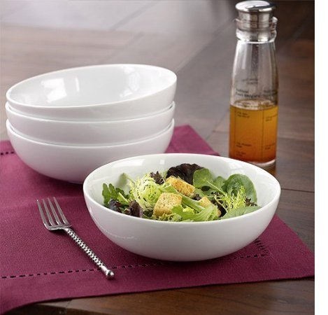 Better Homes and Gardens White Porcelain Round, Low-Shape Coupe Bowls, Set of - Bowl Low
