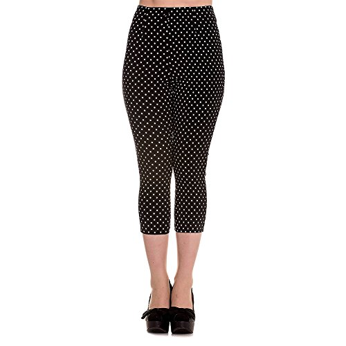 Hell Bunny Kay Capri Pants - Small, (White Polka Dot Capri)